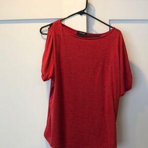 colette Tops - Red cold shoulder top